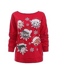 Auwer Women Hoodie Christmas Cat Snowflake Print Sweatshirt Off The Shoulder Blouse