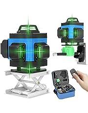 Çapraz çizgi lazeri 25 m KKnoon 4 x 360 4D 16 çizgi kendiliğinden hizalanır, yeşil lazer seviyesi, seviye aleti, dikey yatay lazer eğim fonksiyonu, uzaktan kumandalı IP54