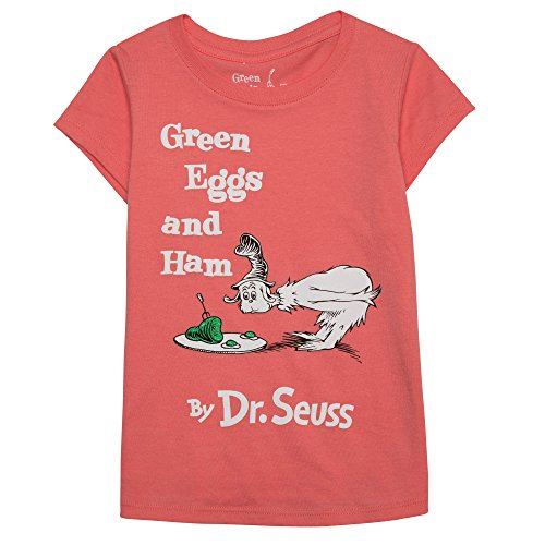 Dr. Seuss Little Girls' Toddler Green Eggs and Ham T-Shirt, Coral, 5T (Cat In The Hat Toddler Shirt)