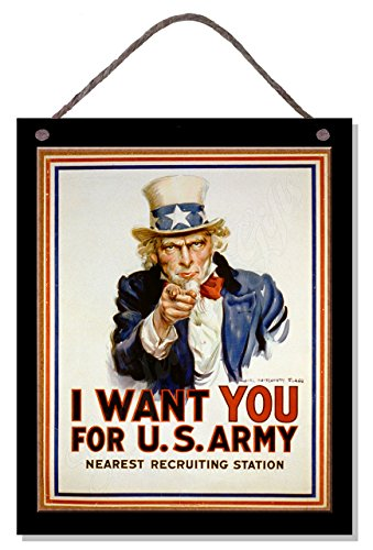 - Gigglewick Gifts Vintage Style Wooden Hanging Poster Plaque Sign I Want You for Us Army Uncle Sam Kitchen