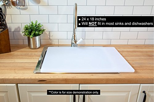 Commercial Plastic Carving Board with Groove, NSF Certified, HDPE Poly (24 x 18 x 0.75 Inch, White) by Thirteen Chefs (Image #6)'