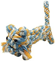 PET(S)TYLE Teeth Cleaning Cotton Rope Dog Toy, Blue/Yellow/White