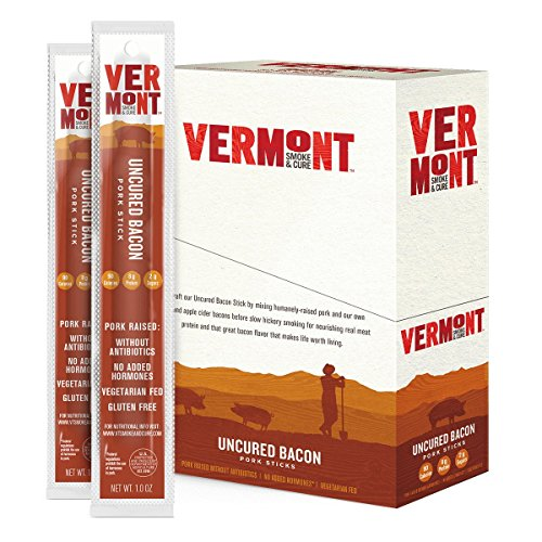Vermont Smoke & Cure Meat Sticks, Pork, Antibiotic Free, Gluten Free, Uncured Bacon, 1oz Stick, 24 Count made in Vermont