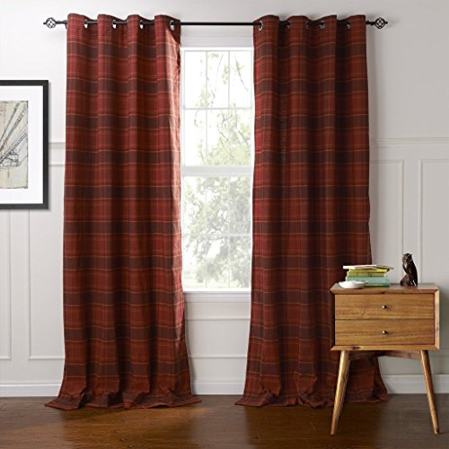 IYUEGO Classic Country Plaid Jacquard Grommet Top Curtains Draperies With Multi Size Custom 100