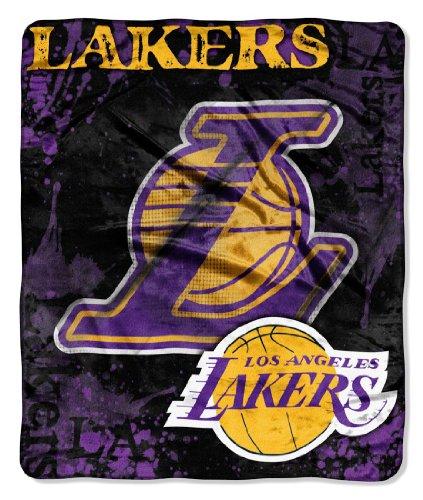 Los Angeles Lakers 50''x60'' Royal Plush Raschel Throw Blanket - Drop Down Design