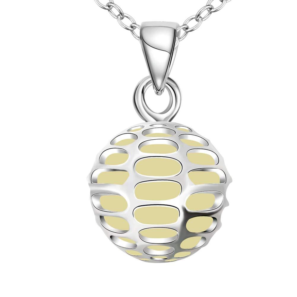 FENICAL Collier médaillon à la Mode Fluorescent Creux en Forme de Boule Collier en Forme de Lueur dans Les Bijoux Sombres (Bleu)