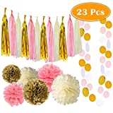 PAXCOO 23 Pcs Pink and Gold Party Decorations with Tissue Pom Poms and Tassel Garland for Birthday Baby Shower Party