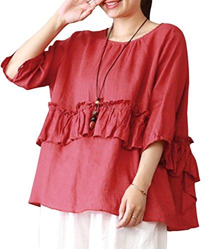 YESNO Y90 Women Casual Loose Sweet Blouse Shirt 100% Linen 'A' Skirt Gathered Waist 1/2 Sleeve ()