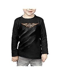 Kelmo Children Long Sleeve Tee Tocige Harley Davidson Logo CozyTshirt Black