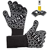 BBQ Gloves Extreme Heat Resistant Grill Gloves - Premium Insulated Durable Fireproof Kitchen Mitts For Baking, Frying & Indoor/Outdoor Cooking With Bonus Meat Shredder Claws & Olive Oil Sprayer