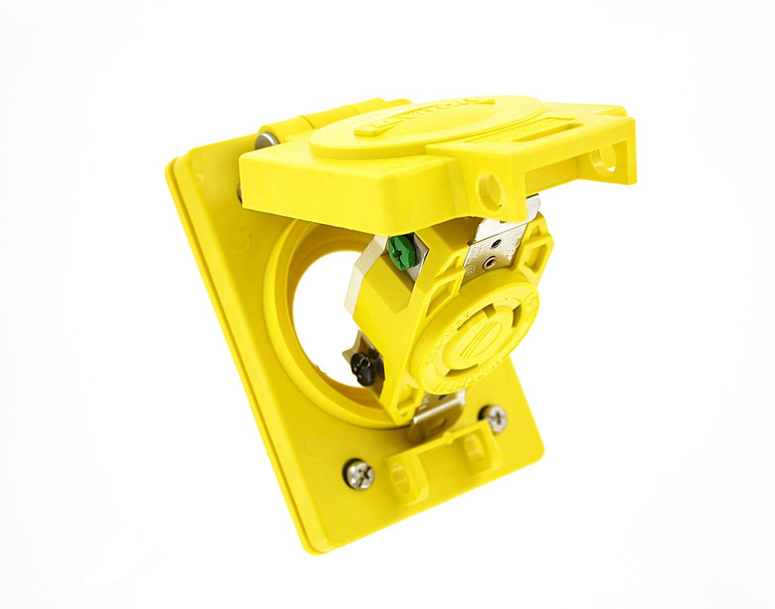 Leviton 69W47 30-Amp, 125 Volt, Flush MTG Locking Receptacle, Industrial Grade, Grounding, Wetguard with Cover, Yellow by Leviton