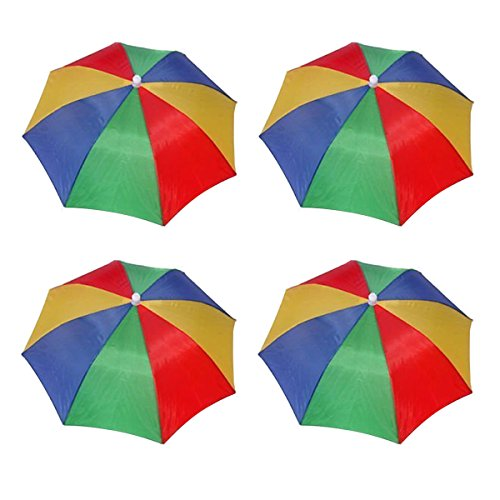 4 Pack Rainbow Umbrella Hat Cap Hands Free With Head Strap For Sun Rain