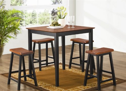 coaster-black-oak-finish-pub-dining-set