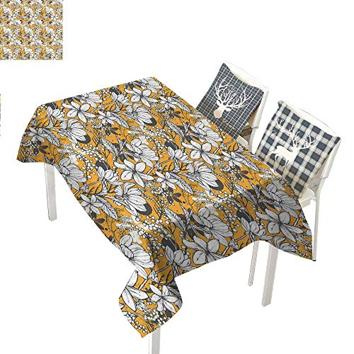 WilliamsDecor Floral Kitchen Table Cover Hibiscus Plant Exotic Beach Island Theme with Tropical Sea AccentsMarigold White Charcoal Grey Rectangle Tablecloth W60 xL84 inch