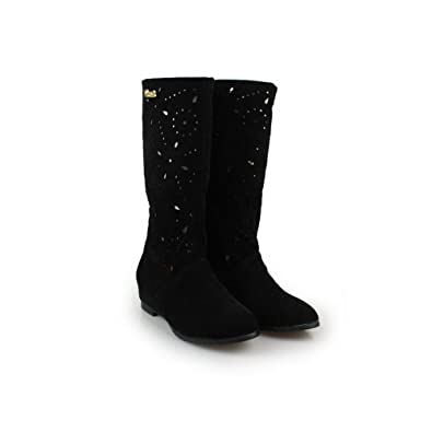 Womens Closed Round Toe Kitten Heel Frosted PU Solid Boots with Hollow Out and Metal