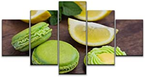 Night in U.S Canvas Art Wall Green Macarons with Mint Cream and Lemon Curd on Wood French Shabby Paintings Vintage Prints Home Decor Artworks Gift Ready to Hang for Living Room 5 Panels Large Size