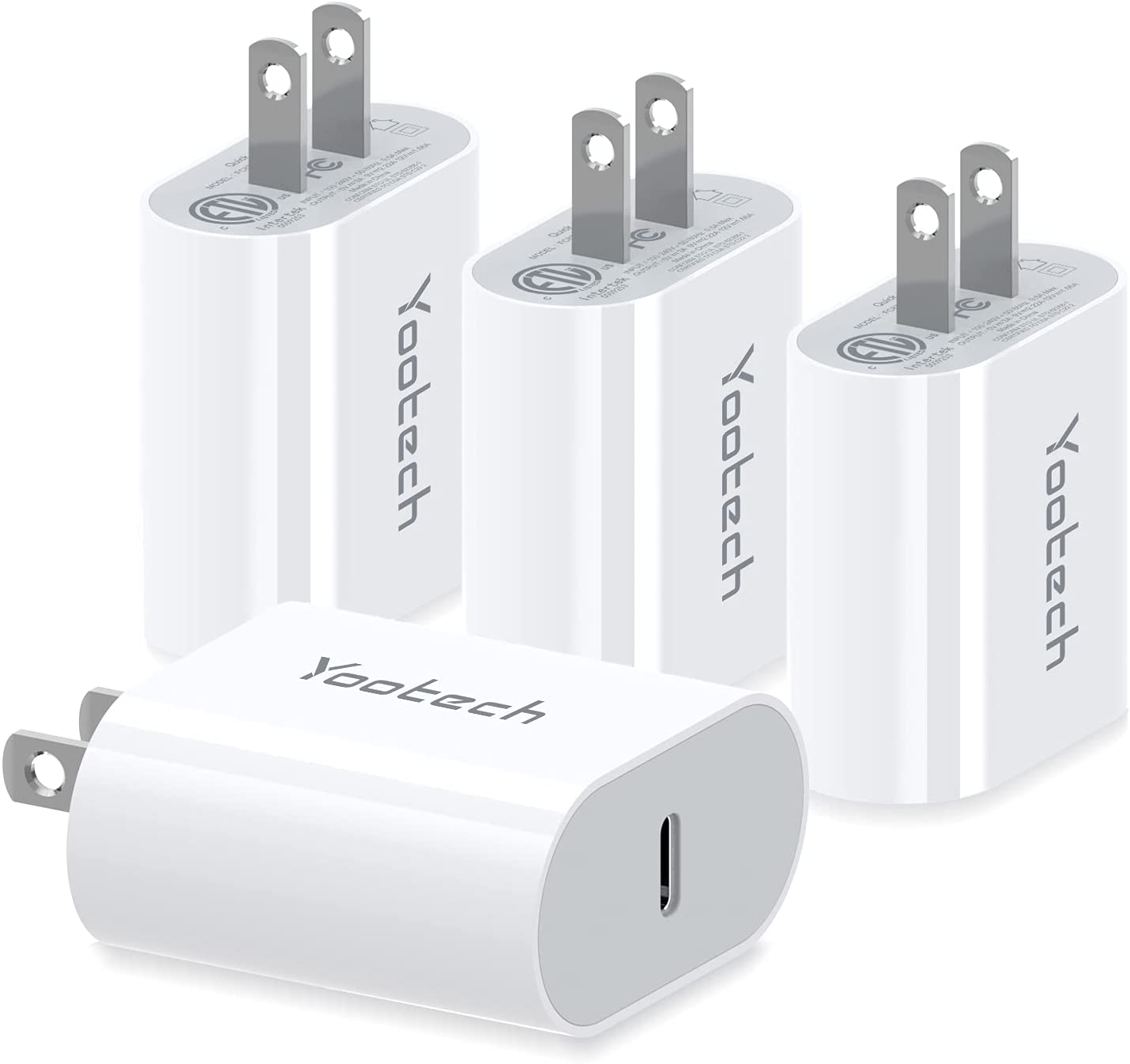 USB C Fast Charger, Yootech [4 Pack] 20W USB C PD Wall Charger, Fast Charger Adapter Compatible with iPhone 12/12 Mini/12 Pro Max/SE/11 Pro Max, Samsung Galaxy S10/S9, Pixel 5/4/3(Cable Not Included)