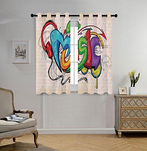 ins,Music Decor,Illustration of Graffiti Style Music Lettering Headphones Hip Hop Rhythm Tempo Hipster Concept,Multi,2 Panel Set Window Drapes,for Living Room Bedroom Kitchen Cafe ()
