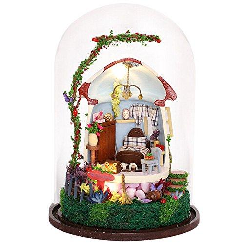 Jone DIYマッシュルームMiniaturaガラスボールモデル構築キット木製ミニドールハウス誕生日ギフト B078Y3L6TR