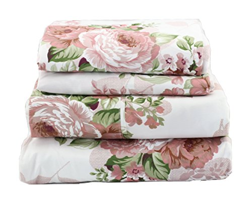 JAYCORNER 1800 Series Super Soft Egyptian Comfort 4pcs Queen Sheet Set Microfiber Floral Leaves Rose Dusty Rose and Green ()