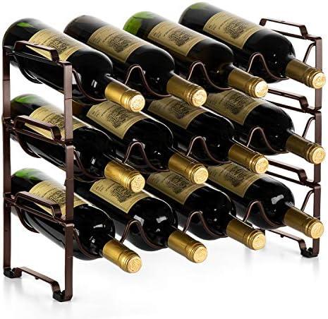 Auledio 3 Tiers Stackable Metal Wine Rack