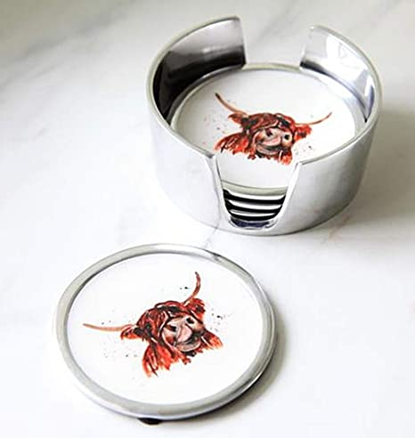 cast aluminium and enamel hand finished bowl in a gift box Dishware & Serving Pieces Snack & Dip Bowls F&G Supplies Beautiful large square bowl or dish with a Highland Cow design by Meg Hawkins