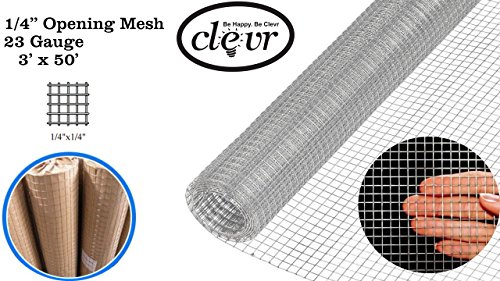 Clevr 3' x 50' 1/4 in 23 gauge Mesh Welded Wire Hot-dipped Galvanized Hardware Cloth Gutter Guards Plant Supports Poultry Enclosure Chicken Run Fence Indoor Rabbit Pen Cage Wire Window Doors by Clevr