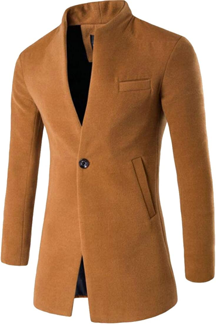 xiaohuoban Mens Single Breasted Overcoats Wool Blend Pea Coats Trench Coats