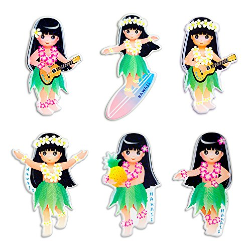 - Fridge Refrigerator Magnets Set Strong Paper Stickers Home Office Classroom Decor (Pack of 6 Hawaiian Happy Girl)