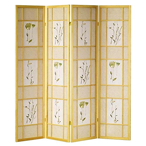 Four Panel Natural Framed Screen (Hongville Shoji Floral Prints Screen Design Wood Framed Room Divider, 4 Panel, Natural)