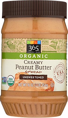 365 Everyday Value, Organic Creamy Peanut Butter Spread Unsweetened, 16 oz