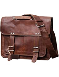 16 Inch leather messenger bags for men women mens briefcase laptop bag best computer shoulder satchel school...