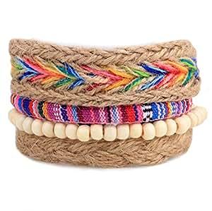 Winter's Secret Popular Four-piece Suit Rainbow Color Hand Braided Hemp Rope Diy Wood Beaded Bracelet