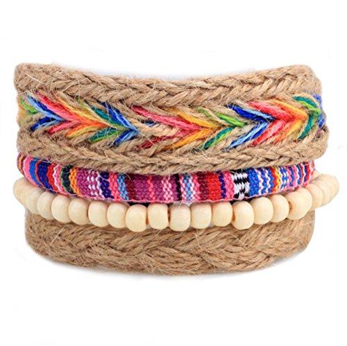 winters-secret-popular-four-piece-suit-rainbow-color-hand-braided-hemp-rope-diy-wood-beaded-bracelet