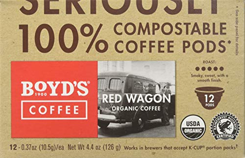 Boyd's Organic Red Wagon Coffee Dark Roast, 12 Count (Pack of 6) from Boyd's Coffee