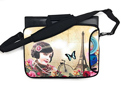 Ipad Universal Tablet Laptop Carrying Case 13 Bag Handle Shoulder Strap Accessory Pocket Sleeve Ultra Portable Padded Neoprene Zipper Everyday Travel (13 Inch Paris Princess Girl with Eiffel Tower)