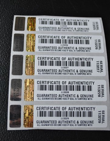 1000 X COA Certificate of Authenticity Tamper Evident Security Stickers / Labels with Hologram and Corresponding Small Label