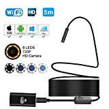 Wifi Wireless Endoscope,720P and 2.0 Megapixels HD Waterproof Borescope Inspection Camera with 8 Adjustable LED, Lens HD Snake Camera for IOS and Android Smartphone Mac Windows Tablet PC(16.4 FT)