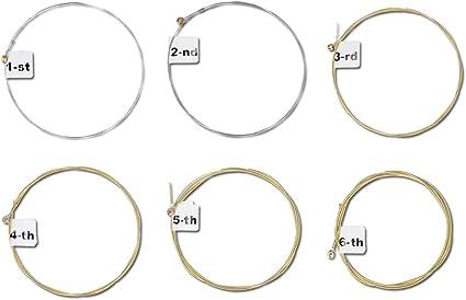 kwmobile Set de 6 cuerdas para guitarra - Juego de cuerdas de ...