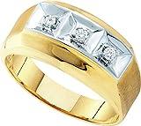 10kt Yellow Gold Mens Round Diamond 3-stone Two-tone Wedding Band Ring 1/10 Cttw
