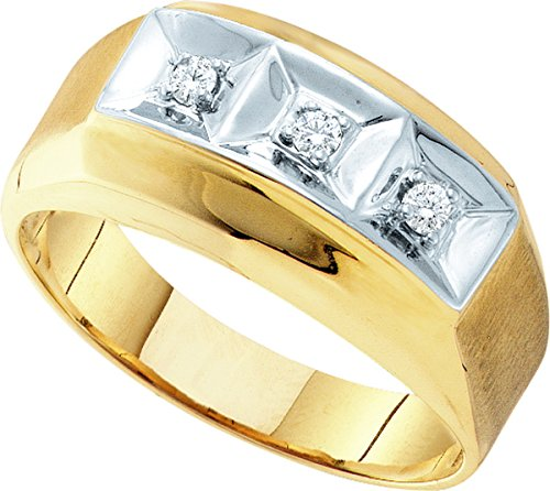 10kt Yellow Gold Mens Round Diamond 3-stone Two-tone Wedding Band Ring 1/10 Cttw by JawaFashion