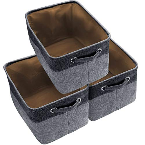 Awekris Canvas Storage Bins Baskets Large Fabric Cube Box Set of 3 Collapsible Organizer with Handles for Shelves Cubby Laundry Playroom Closet Clothes Shoe Baby Toy Black ()