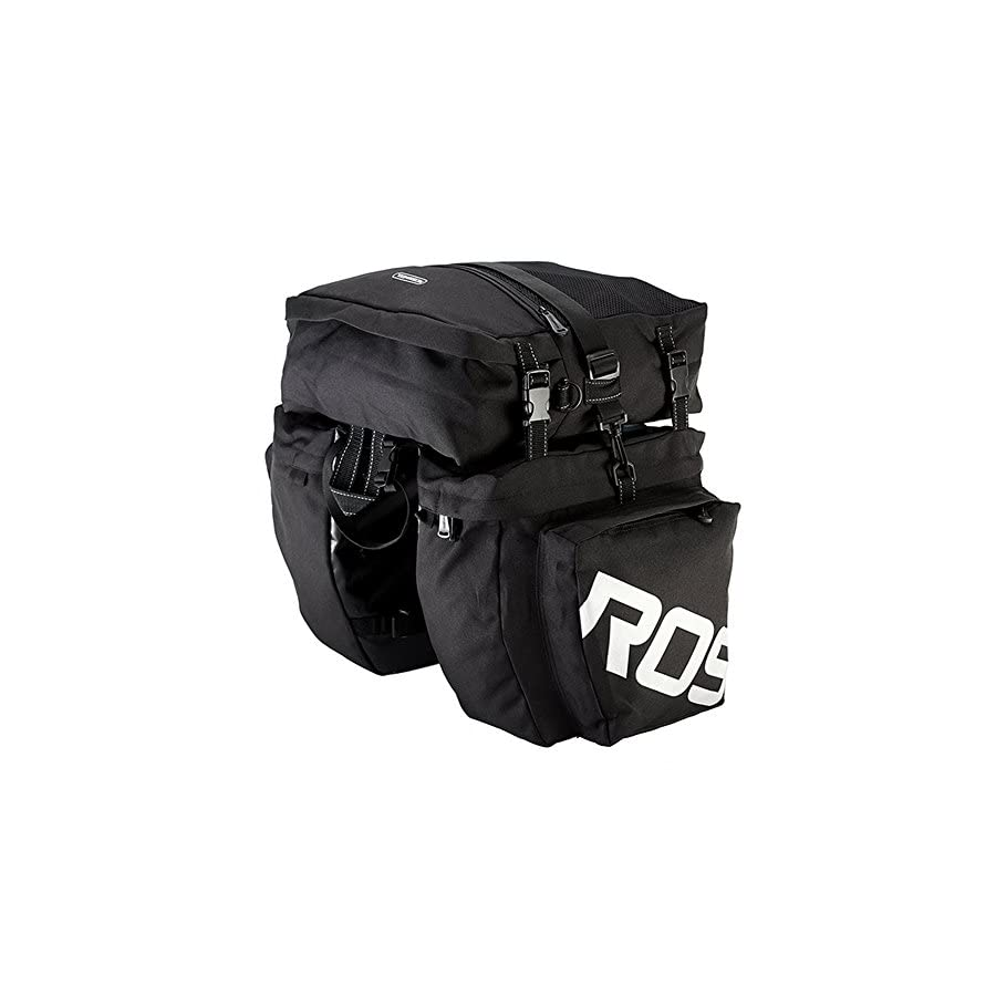 COCO Bike Panniers Waterproof Bag 3 in 1 Multi Function Messenger Panniers for Bicycles, Bicycle Rear Seat Trunk Bag, Bicycle Saddle Bag for Mountain Cycling (Black)