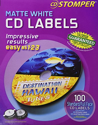 Avery 100-labels 98102 Matte White CDlabels for cd Stomper Pro
