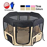 "ZuHucpts 48"" Zipper Sealed Bottom Large Indoor/Outdoor Dog Pet Playpen, Portable Foldable Puppy Cat Excise Pen Kennel Tent , Soft Folding Crate Cage House Enclosure 