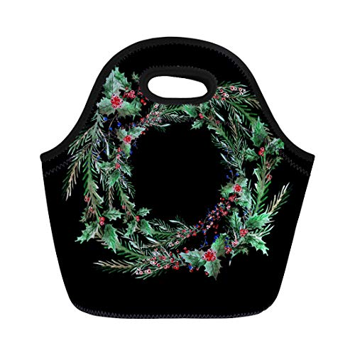 Semtomn Neoprene Lunch Tote Bag Watercolor Winter Holidays Wreath Holly Berries and Fir Tree Reusable Cooler Bags Insulated Thermal Picnic Handbag for Travel,School,Outdoors,Work