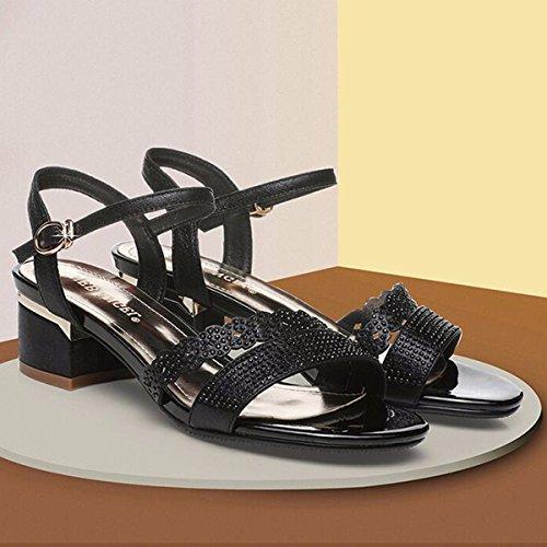 Black Grueso High Korean Sexy Zapatos Shoes Women y Edition JRFBA Heel 's Sandals Cómodo Summer con qX4wqAZ