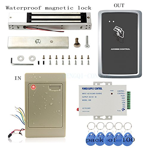 Swipe Card for In and Out Weather Proof Access Control Systems & Magnetic Lock+110-240V Power Unit+RFID Keychains by MENGQI-CONTROL