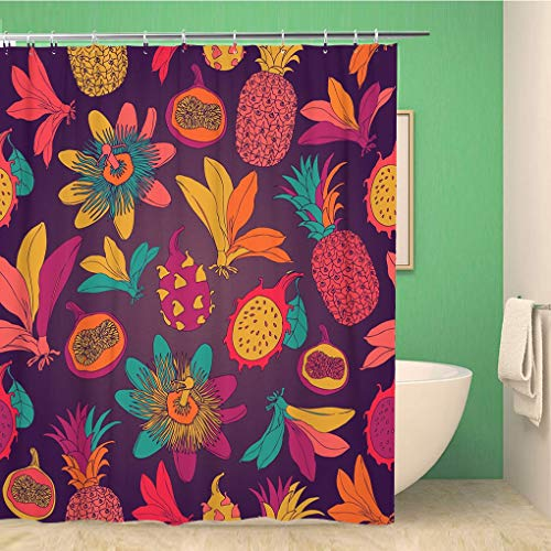 Awowee Bathroom Shower Curtain Watercolor Fruit Vintage Tropical Flowers Pineapple Pattern Dragon Abstract 72x72 inches Waterproof Bath Curtain Set with Hooks