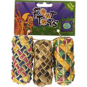 Planet Pleasures Woven Cylinder Foot Toy (3 Pack), Small 104